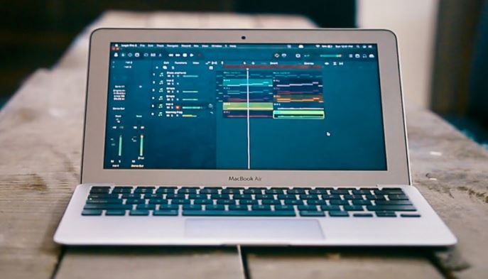 making music on laptop